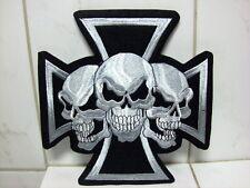Aufnäher Aufbügler Patch Rückenaufnäher Totenkopf Kreuz Nr.2 - 21,5 x 21,5 cm