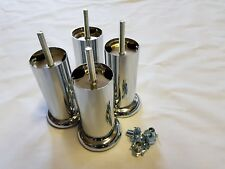 4 x CHROME FURNITURE LEGS FOR SOFA, STOOLS, BEDS, CHAIRS 120mm x 50mm