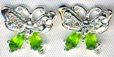 925 Sterling Silver Lime Green & Clear Cubic Zirconia Butterfly Stud Earrings