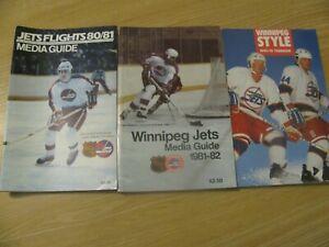 1980 - 90  WINNIPEG JETS NHL HOCKEY MEDIA GUIDE YEARBOOK LOT ( 3 ) NEAR MINT CND