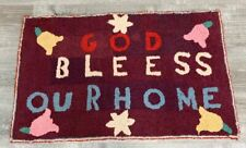 Farmhouse PA Vintage God Bless Our Home RUG Hook Mennonite