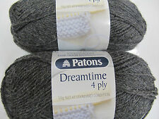 PATONS DREAMTIME MERINO BABY WOOL 4PLY  50 GRS 2 BALLS CHARCOAL,NO 2958,