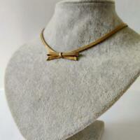 Rare Vintage Christian Dior Simple Bow Golden Mesh Choker Designer Signed 60-70s
