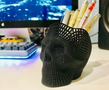 NEW Skull Shaped Pen Pencil Holder Home Office Desk Supplies Organizer Accessory