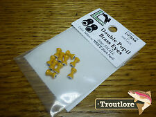 HARELINE DOUBLE PUPIL BRASS EYES YELLOW SMALL - NEW FLY TYING MATERIALS