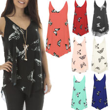Womens Plus Size Floral Chiffon Butterfly Print Sheer Racer Vest Top UK 14-28