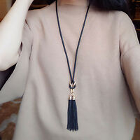 Fashion Women Exquisite Jewelry Black Chain Tassel Long Chain Necklace