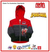 GENUINE AUS LICENSED-Kids Boys Spiderman Hooded Zip Puffa Jacket-SALE