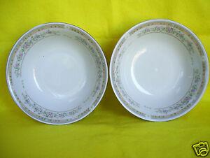"Lot 2 Vintage Kentfield & Sawyer Fine Porcelain China  6 1/4"" BOWLS  Peach Gray"