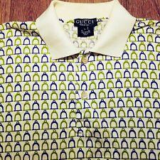 Vintage GUCCI Shirt Polo 100% Authentic Horsebit Stirrup Print Men's Large