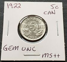 1922 Canada 5 Cent Nickel ***GEM UNC MS-64*** Great Detail
