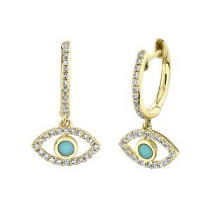 Turquoise Diamond 14K Yellow Gold Evil Eye All Seeing Earrings Drop Dangle
