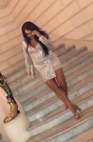 Missguided Peace Love Heavy Embellished Wrap Long Sleeve Party Dress UK 6 & 8 10
