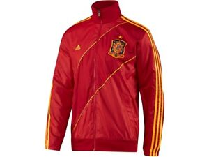 NEW! Mens SMALL Adidas Spain FEF Anthem Soccer Track Jacket W38136 Red Yellow