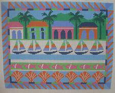 Handpainted Needlepoint Canvas Susan Treglown Caribbean Scene Beach LP62