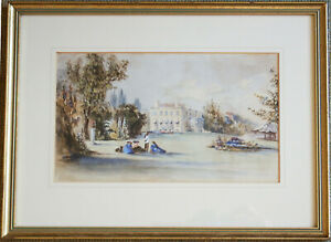 Georgian Country House with Figures & Marquee Victorian Watercolour Framed