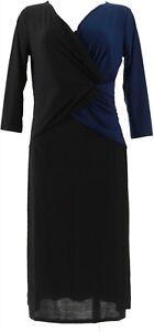 IMAN Global Chic Luxurious Colorblock Dress Navy XS # 592-827