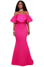 New Classy Hot Pink Ruffle Off Shoulder Maxi Party Dress Size 12 14 UK