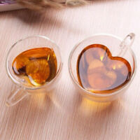 Heart Love Shaped Double Wall Glass Mug Resistant Tea Mugs Glass Coffee/Tea Cups