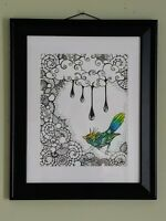 Original pen, ink, and colored pencil drawing 11x17 in frame *SIGNED*