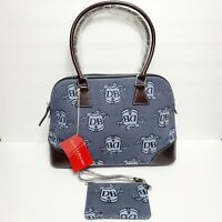 DOONEY& BOURKE Large Blue Canvas and Brown Leather Domed Satchel Purse Hand Bag
