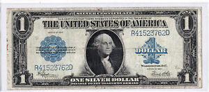 $1 1923 Silver Certificate Horse Blanket Large Blue Seal Circulated Note.