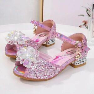 UK Kids Girls Elsa Princess Fancy Party Sequin Crystal High Heels Shoes Froze2