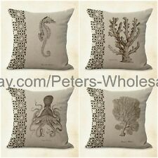 US SELLER- 4pcs pillow case for sofas marine life cushion cover seahorse coral