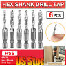 "6pcs HSS 1/4"" Hex Shank SAE Drill Tap Combination Bit Set Deburr Countersink Bit"