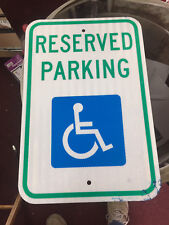 """Reserved Parking"" Handicap Reflective Aluminum Metal Sign---NEW 12"" x 18"""