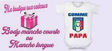 body bébé personnalisé Italie Foot , manche courte ou longue