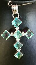 925 sterling silver blue quartz cross.5.5cms. Stunning