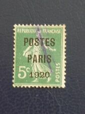 FRANCE  POSTES PARIS 1920 pre-cancel on 5c green Sower used pen cancel