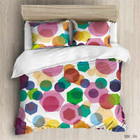 Colorful Dots 3D Quilt Duvet Doona Cover Set Single Double Queen King Print