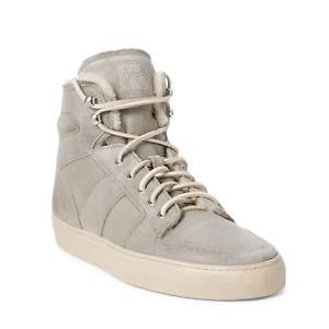 Ralph Lauren Purple Label Seaham II High Top Grey Calfskin Leather Suede Sneaker