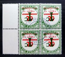 GUYANA ESSEQUIBO Postage Due 20c on 1c Inverted/OPT Block of 4 Fine/Used NC190