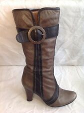 Schuh Brown Mid Calf Leather Boots Size 39