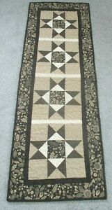 """Hand Made Quilted Table Runner/ Topper /Mat ~ 14.75"""" x 43"""" ~ Black/Tan"""