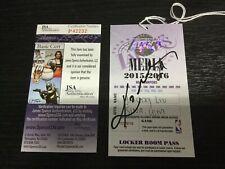"Kobe Bryant Sign Lakers Media Locker Room Pass JSA COA Autograph Inscribed ""24"""