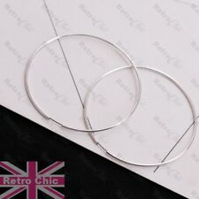 60mm polished endless HOOP earrings SILVER FASHION thin hoops 6cm