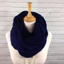 Womens Navy Blue Infinity Loop Snood Scarf Thick Cable Knitted Style
