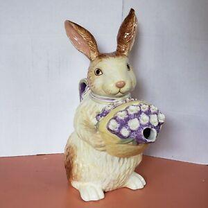 Longaberger Pottery Bunny (Spring Rabbit) Teapot Pitcher Excellent Condition