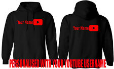 PERSONALISED YOUTUBER HOODIE, ADD YOUR YOUTUBE USER NAME ADULT KIDS GIFT TOP