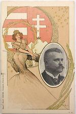 Orig vtg. PC Art Nouveau woman with portrait of a man Sign: Basch Árpád