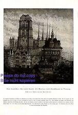 Kirche St. Marien Danzig XL Kunstdruck 1920 von Paul Kreisel Stockturm Gdansk