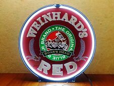 Weinhard's Red Beer Rotating Neon Light Sign Blue Boar Boar's Head Bar Mancave
