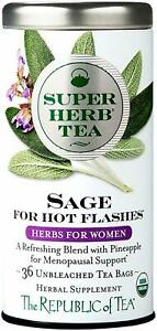Organic Super Herb Sage Tea for Hot Flashes by The Republic of Tea, 36 tea bag