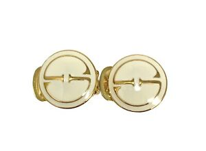 Authentic GUCCI Vintage GG Interlocking Earrings Jewelry Gold Ivory RankAB