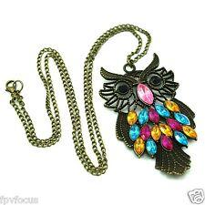 Antique Bronze Owl Animal Necklace Pendant w/ Rhinestone Crystals & Chain