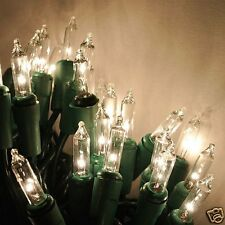 20 Clear/White Christmas mini lights - green wire,craft lights, wreaths, bottles